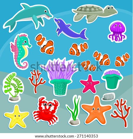 Under the sea animals vector illustration Cute sea creatures Cartoon animal stickers Starfish, jellyfish, dolphin, crab, turtle, sea anemone, clown fish, seahorse, coral, seaweeds vector illustration  - stock vector