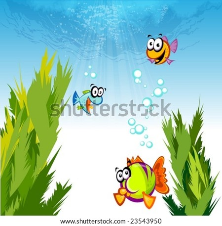Under the Sea with Colorful Cute Friends - enjoying with cheerful marine life in beautiful underwater on a background of shiny and bright blue ocean : vector illustration - stock vector