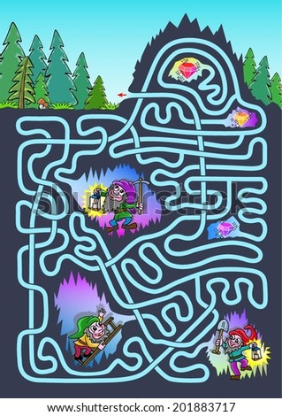 Underground maze for kids - color. Three dwarves were lost at underground. Help them to get outside and find three diamonds.  - stock vector
