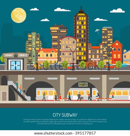 Underground poster of cityscape with subway station and platform train passengers under city street flat vector illustration - stock vector