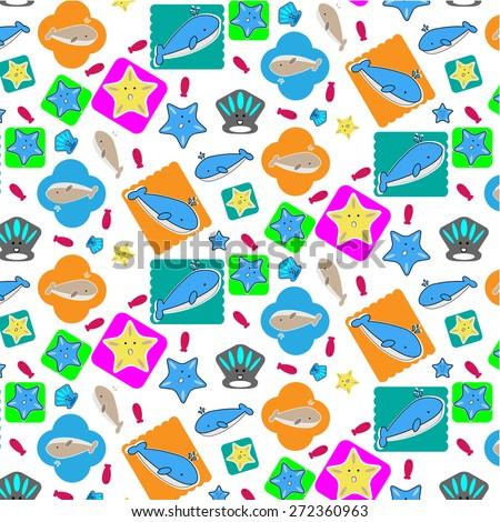 undersea animal seamless pattern - stock vector