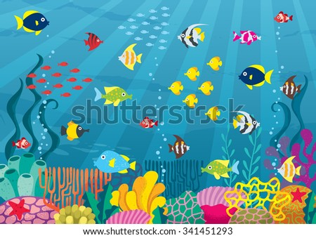 Undersea: Cartoon illustration of underwater world with corals and fish.   - stock vector