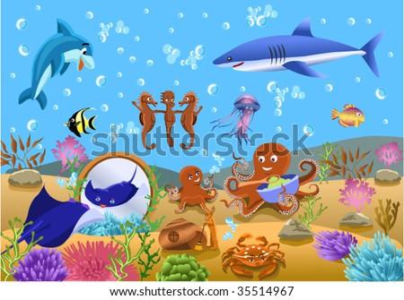 undersea life - stock vector