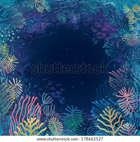 Underwater. Aquatic plants and corals surrounding sea abyss. - stock vector