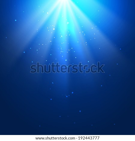 Underwater blue background with sun rays - stock vector