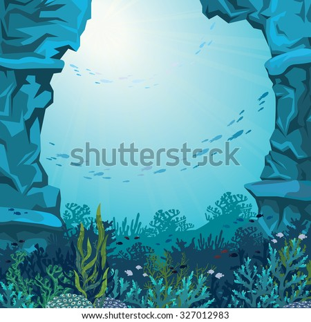 Underwater cave and coral reef with silhouette of fish on a blue sea background. Nature vector illustration. - stock vector