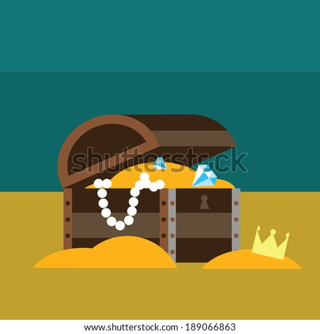 Underwater chest with gold - stock vector