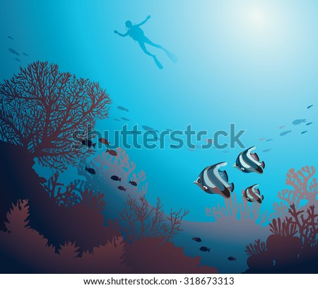 Underwater illustration - silhouette of diver and coral reef with school of fish. Vector seascape image. - stock vector