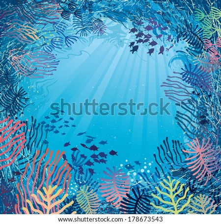 Underwater in daylight. Illustration of sea plants and fish. - stock vector