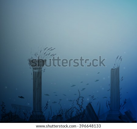 underwater landscape with ancient ruins of columns, fishes, alga and bubbles, secret of Atlantis, vector, - stock vector