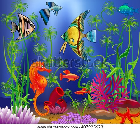 Underwater landscape with various water plants and swimming tropical fish.  - stock vector