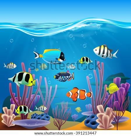 Underwater life - stock vector