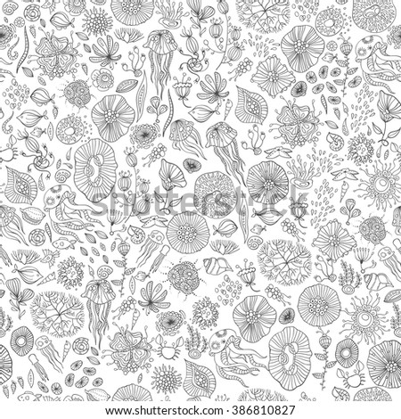 underwater life with jellyfish, fish, seaweed, vector - stock vector