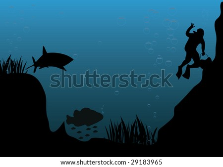 underwater scene - stock vector