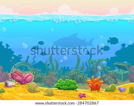 Underwater seamless landscape, neverending vector bottom illustration, cartoon background for game design - stock vector