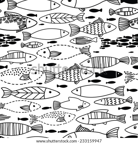 Underwater seamless pattern with fishes. Seamless pattern can be used for wallpapers, web page backgrounds.  Black and white illustration - stock vector