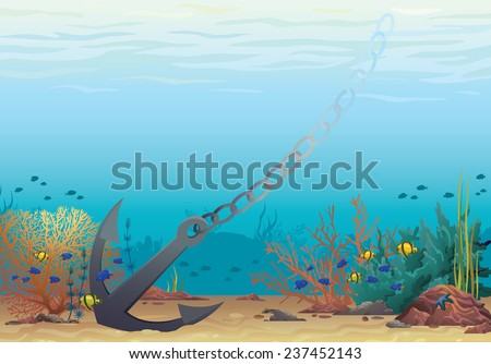 Underwater vector illustration. Anchor and coral reef on a blue sea background. - stock vector