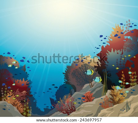 Underwater vector seascape with coral reef and school of fish. - stock vector
