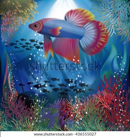 Underwater wallpaper with  well fish, vector illustration - stock vector