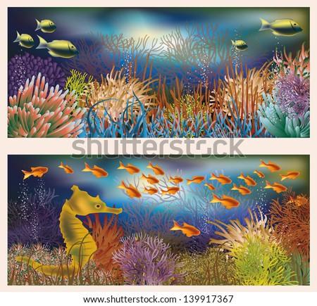Underwater world banners, vector illustration - stock vector