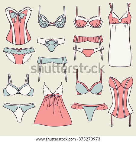 Underwear women icon set vector. Doodle background lady's wardrobe. Big collection of women's lingerie - stock vector