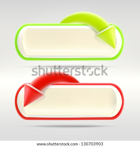 Undo and redo buttons with glossy red and green arrows over, eps10 vector copyspace design elements - stock vector