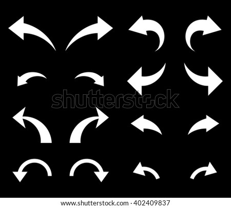 Undo and Redo vector icon set. Collection style is white flat symbols on a black background. Undo And Redo icons. - stock vector