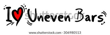 Uneven Bars love - stock vector