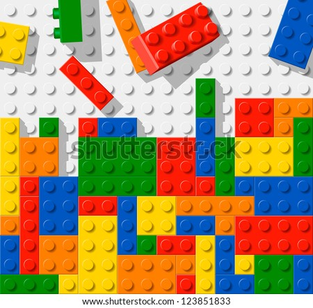 Unfinished construction made from plastic construction blocks - stock vector