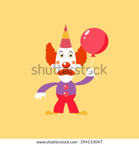 Unhappu Clown Holding Balloon Simplified Isolated Flat Vector Drawing In Cartoon Manner - stock vector
