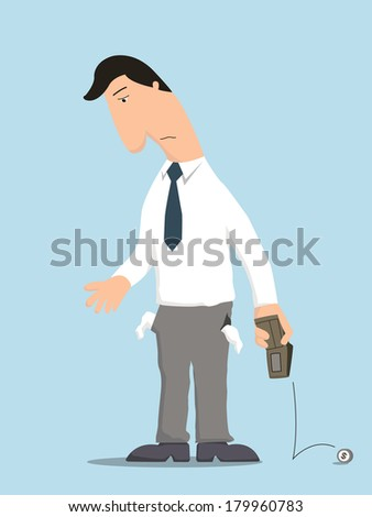 Unhappy businessman showing empty pocket inside out with no money in wallet, standing lonely in despair.  - stock vector