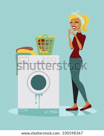 Unhappy housewife with her broken washing machine - stock vector