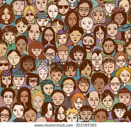 Unhappy people - hand drawn seamless pattern of a crowd of different people who are sad and disappointed (there's an image with happy people in my portfolio too) - stock vector