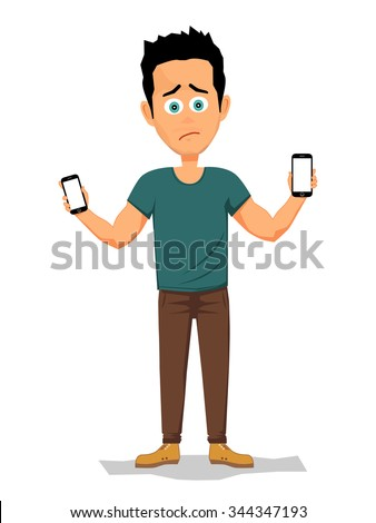 Unhappy young man holding two smartphones. Hard decision between two phones. Vector illustration. - stock vector