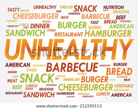 UNHEALTHY word cloud, fast food concept - stock vector