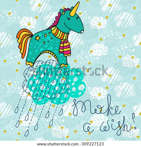 Unicorn doodle cartoon over sky pattern, colorful illustration, Vector - stock vector