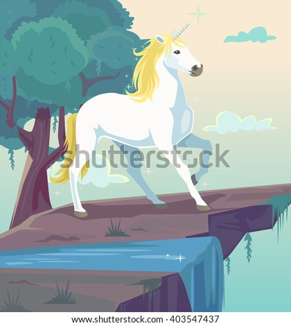Unicorn fantasy flat cartoon illustration - stock vector
