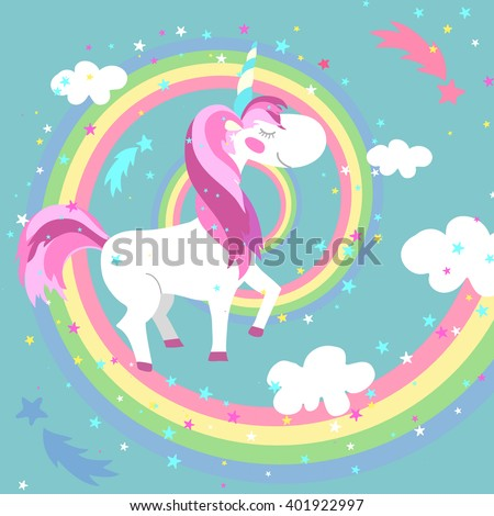 Unicorn on colored rainbow. Horse or pony fairy creature childish, swirl, spiral. Vector illustration - stock vector