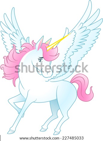 Unicorn Pegasus with opened wings and yellow horn, pink hair and tail vector illustration.  - stock vector