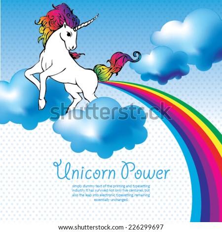 Unicorn Power with a rainbow vector - stock vector