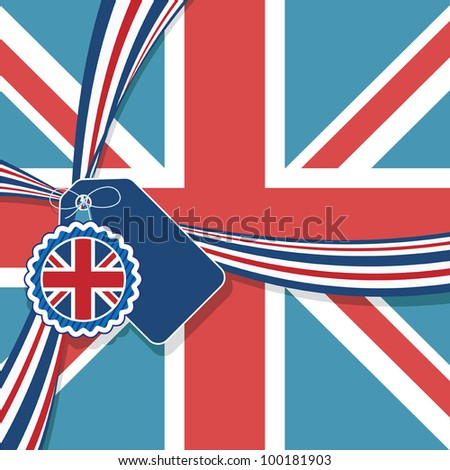 union jack background with ribbon and decorations, no gradients or transparencies - stock vector