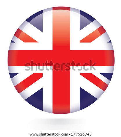 Union Jack flag button - stock vector