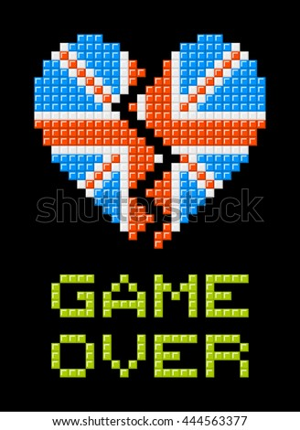 Union Jack heart made out of pixel blocks, breaking as a consequence of the Brexit referendum - stock vector