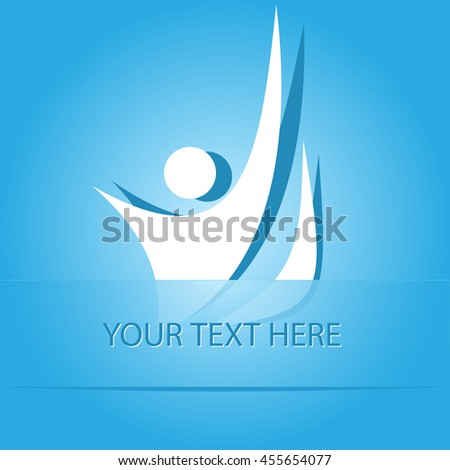 unique abstract forms. Paper blue sticker as bookmark. Vector illustration. - stock vector