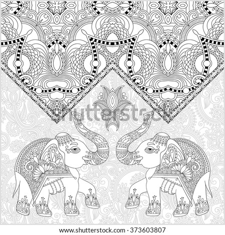 unique coloring book page for adults - flower paisley design with two elephant, joy to older children and adult colorists, who like line art and creation, vector illustration - stock vector