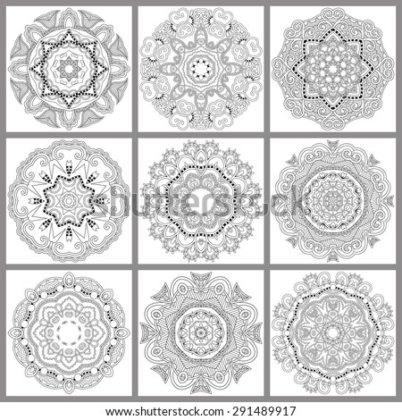 unique coloring book square page for adults - floral authentic circle design, joy to older children and adult colorists, who like line art and creation, vector illustration - stock vector