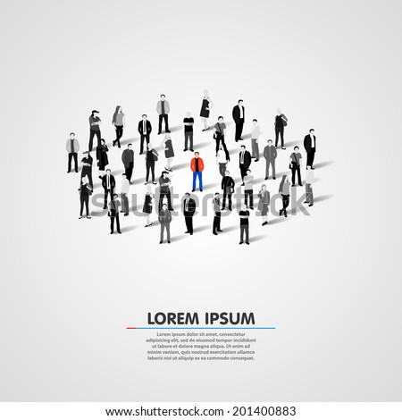 Unique person in the crowd. Vector illustration - stock vector