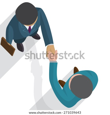 Unique Perspectives of two businessman shaking hands in making a deal or an agreement. - stock vector