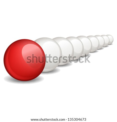 Unique red ball, individuality, vector illustration. - stock vector