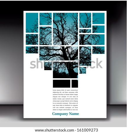Unique tree page layout for web or print - stock vector